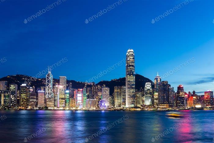 Hong Kong City Skyline bei Nacht