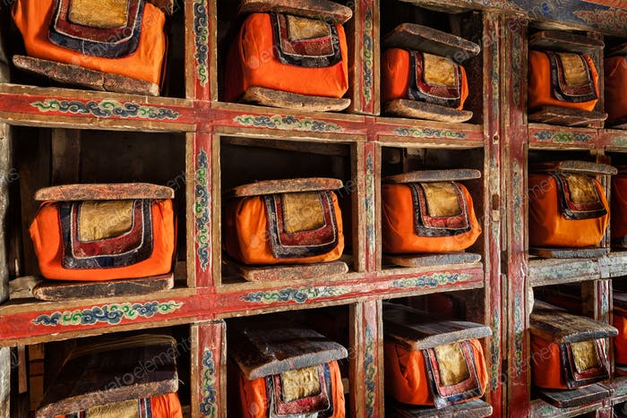 Old manuscripts folios in library of Thiksey Monastery. Ladak