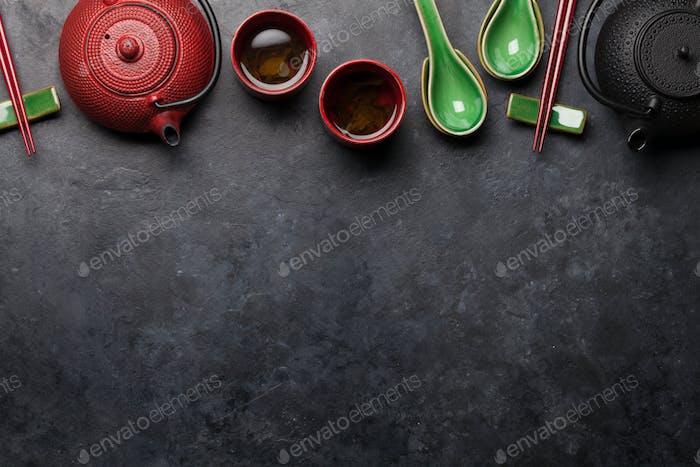 Japanese tea, soup spoons and chopsticks