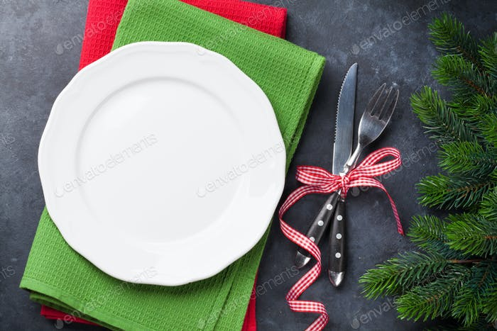 Christmas dinner plate, silverware, fir tree