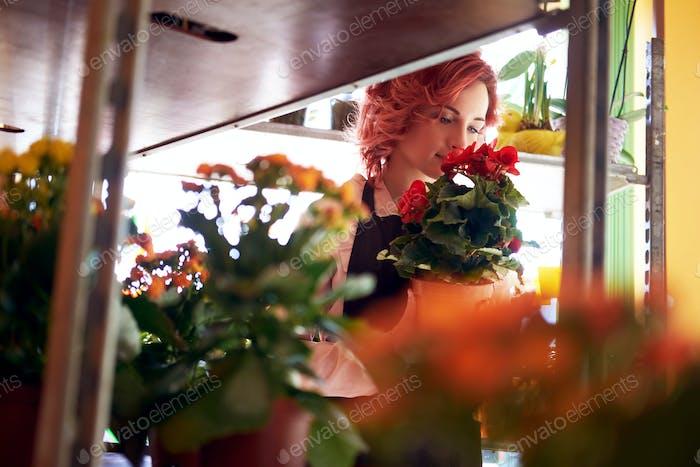 Schöne rothaarige weibliche Floristin trägt Uniform, die in einem Blumenladen arbeitet.