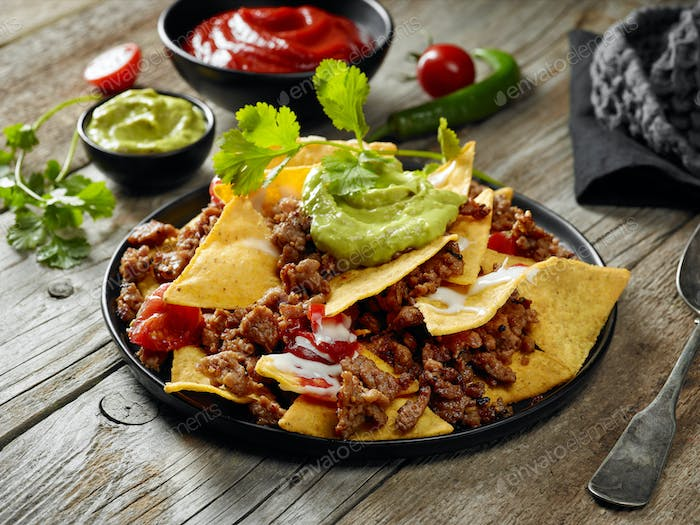 corn chips nachos with fried minced meat
