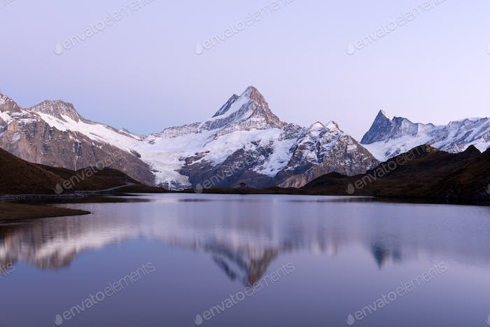 Picturesque view on Bachalpsee lake in Swiss Alps mountains