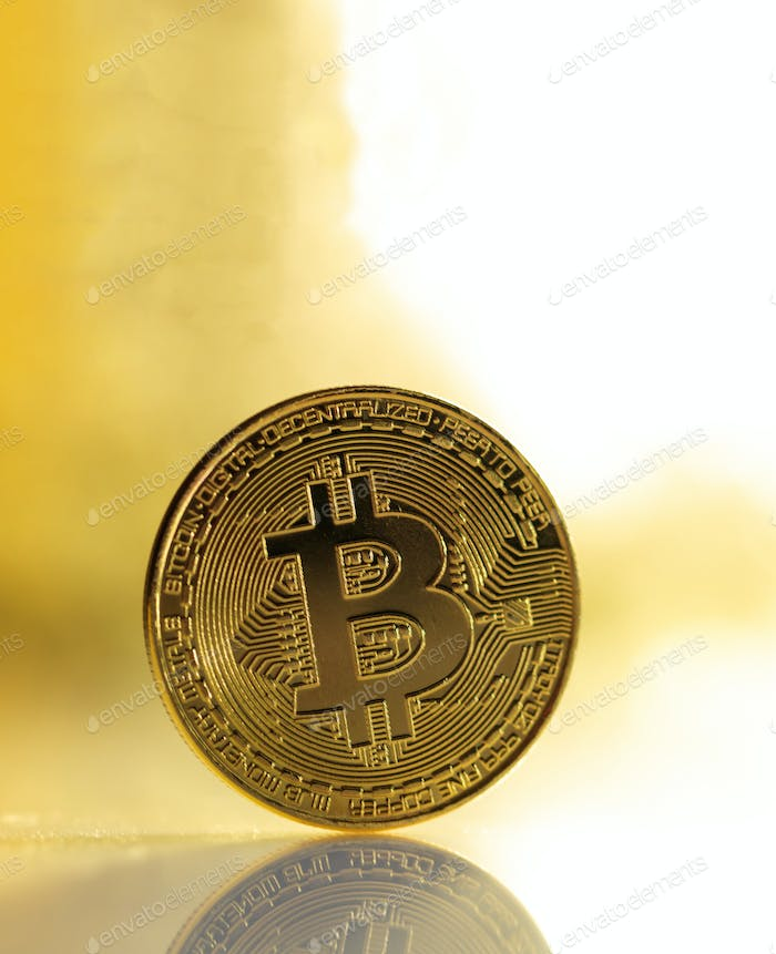 Bitcoin cryptocurrency gold coin on shiny background. Blockchain technology.  3d illustration