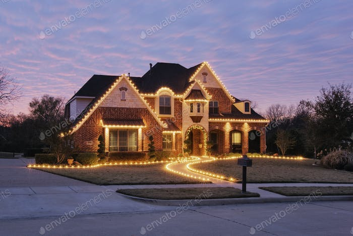 51207,Home Decorated with Christmas Lights