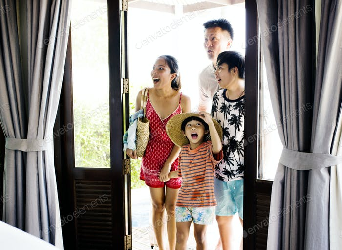 Asian family on vacation