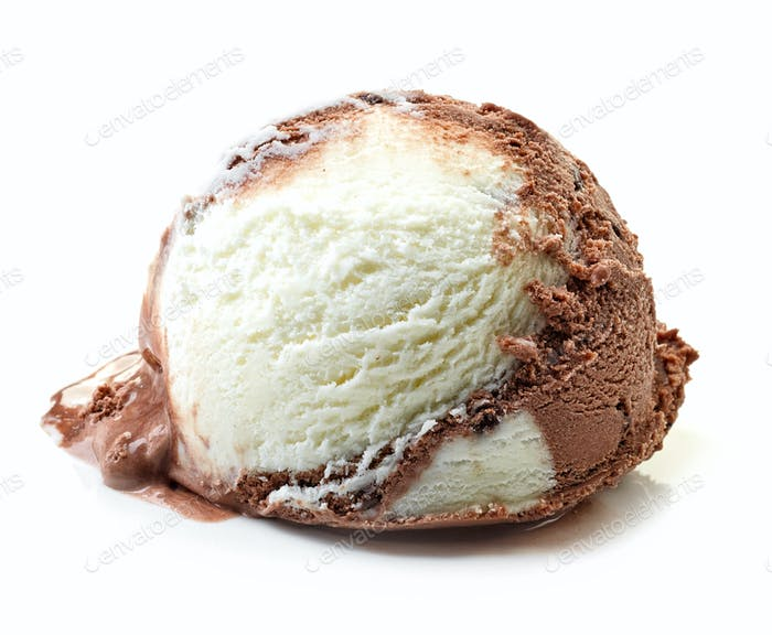 vanilla and chocolate ice cream ball