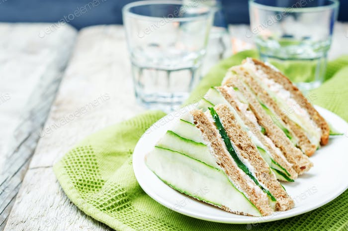 Salmon Greek yogurt cucumber rye sandwiches