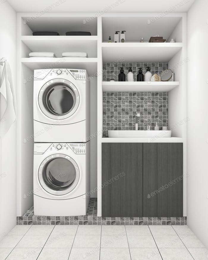 3d rendering beautiful modern white laundry room with decoration