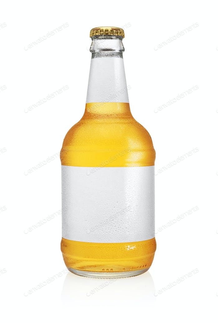 Beer bottle with water drops isolated on white.
