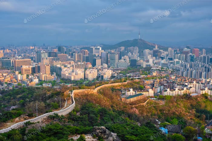 Seoul skyline on sunset, South Korea.