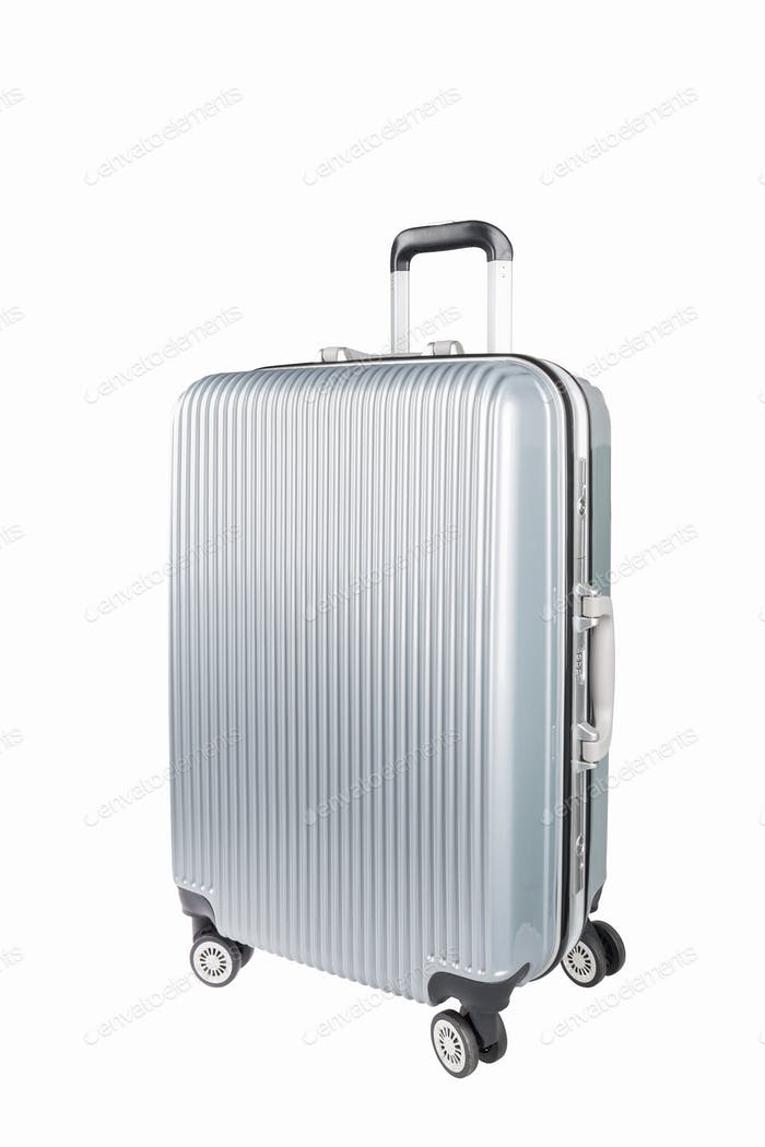 silver travel luggage isolated