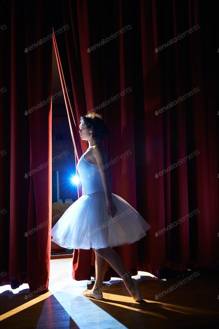 Frau als klassischer Tänzer Blick auf Stände Vor Ballett