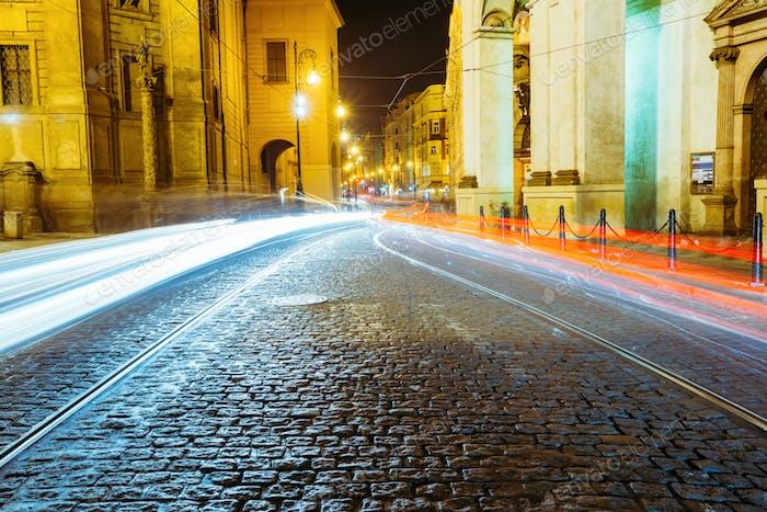 Night View of traffic lights in street in Prague, Czech republic