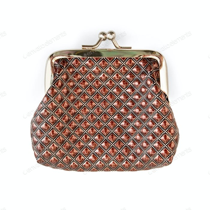Purse brown with a pattern