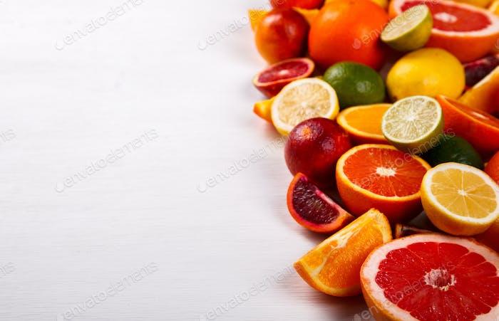 Different Citrus Fruit .Antiviral healthy food. Immunity restoration.