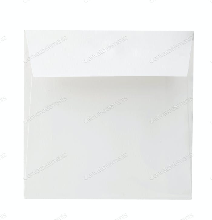 Blank envelope close-up isolated on a white background.