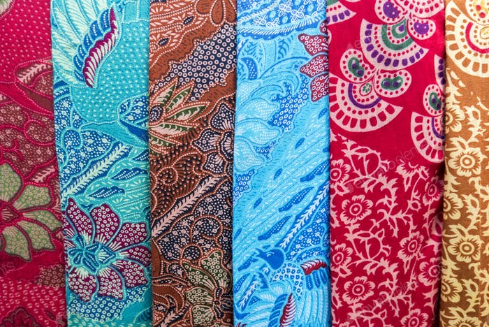 Amazing colorful Balinese sarongs for sale in Ubud, Bali, Indone