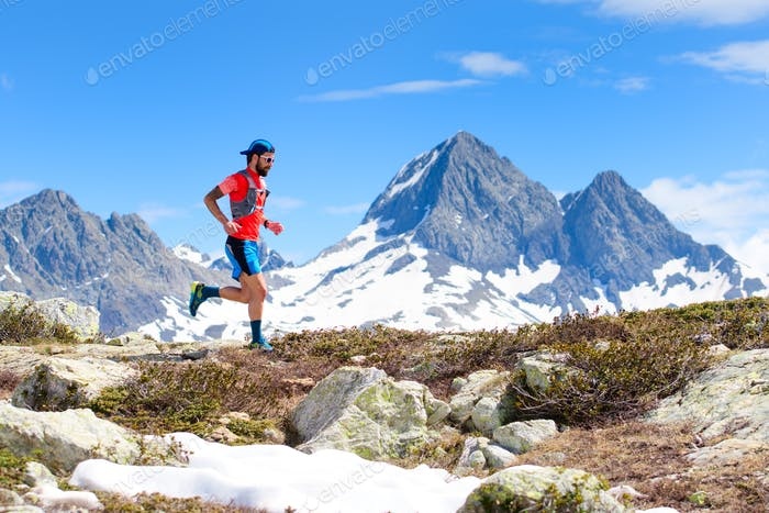 An ultra trail running athlete man