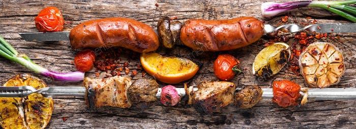 Shish kebab with mushrooms
