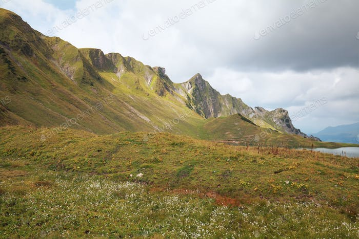mountain view and alpine lake