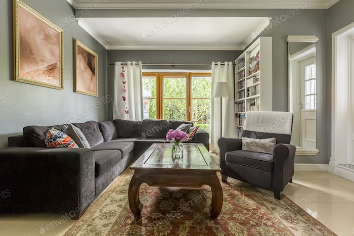 Comfortable living room with classic coffee table