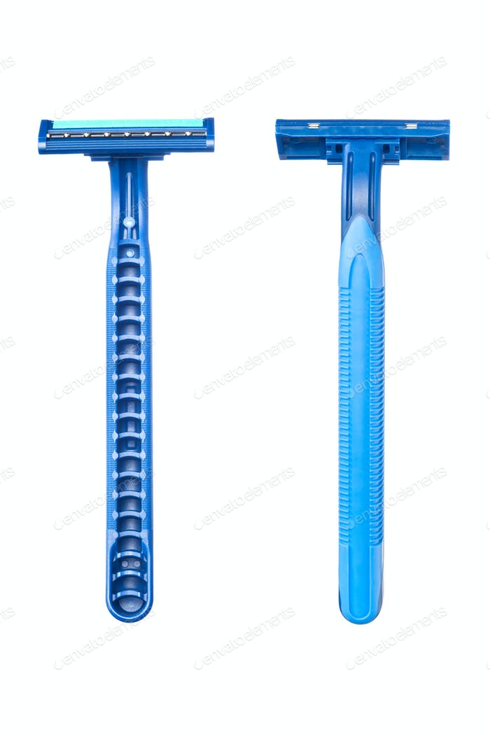 Blue disposable razor blade