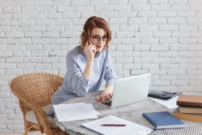 Young businesswoman working at the computer and talking on the phone.