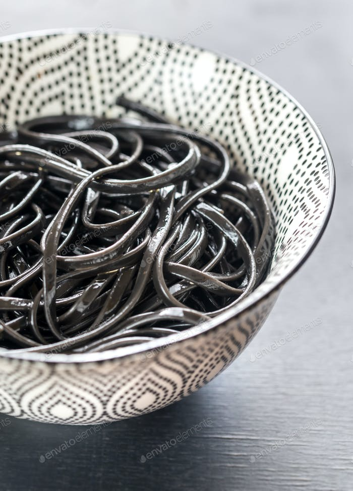 Bowl of black pasta