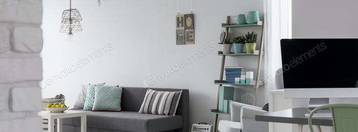 Living room with a workspace idea