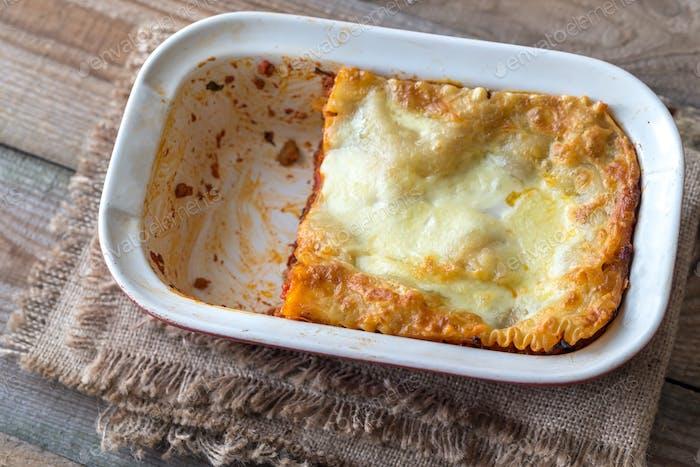 Dish of lasagne