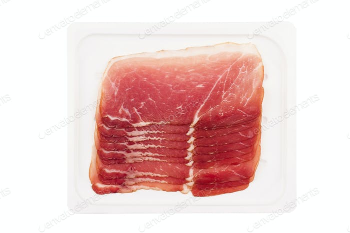 smoked pork fillet packaging isolated on white