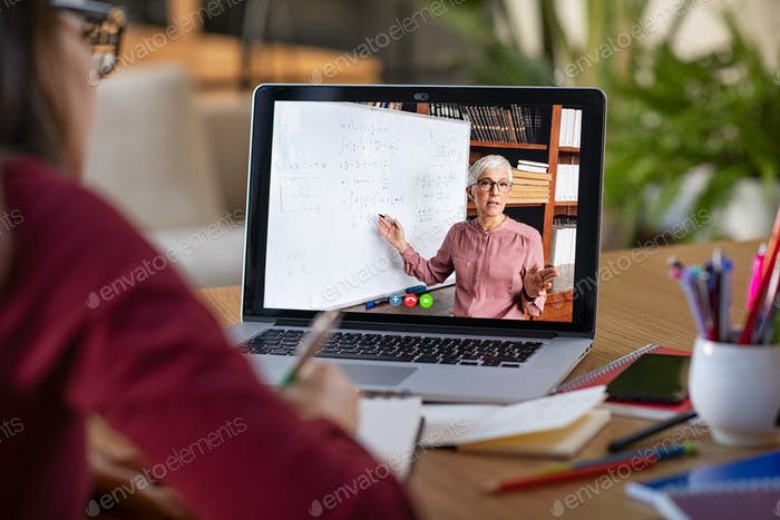 Studying with video online lesson at home