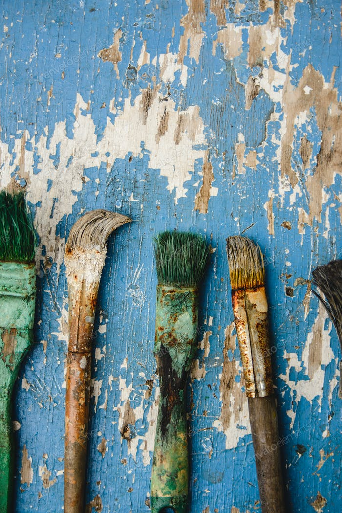 Old paint brushes
