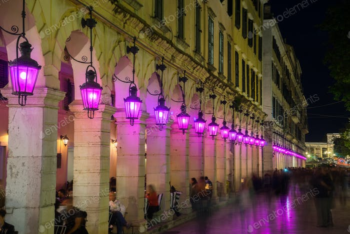 Holy week with purple lanterns on Liston Square, Corfu, Greece