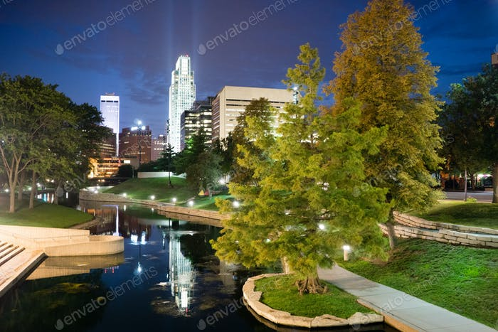 Omaha Nebraska Downtown City Park Skyline Dusk Night