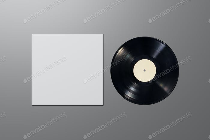 Vinyl record with blank cover on gray background. Mock up template.