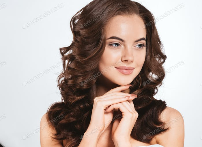 Beautiful Woman Skin  Red Lips Healthy Beauty Smile. Spa Beautiful Model Girl  Face gray background