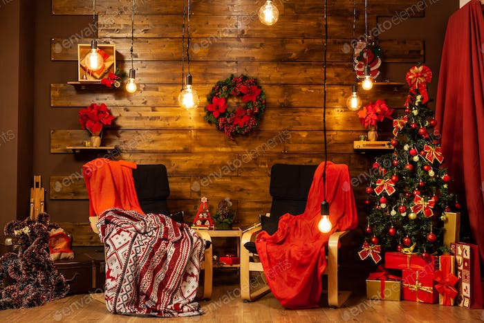 Christmas home design with beautiful christmas tree