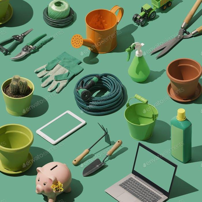 Sammlung von Garten- und Gartenbauwerkzeugen