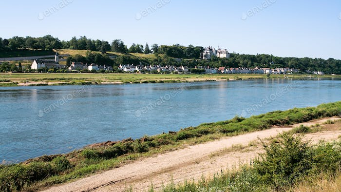 view of Loire river with Ile d'Or and Amboise