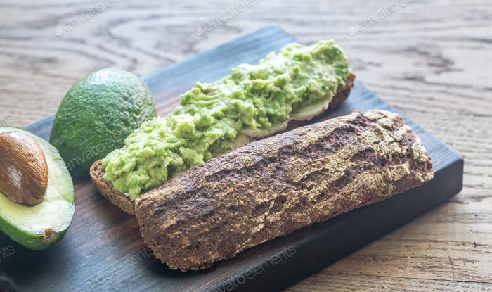 Sandwich with smashed avocado
