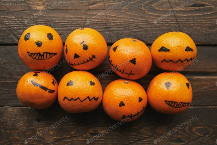 Tangerines With Halloween Faces