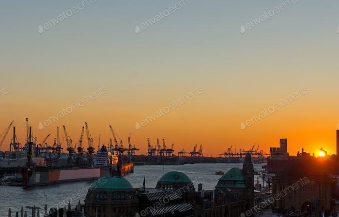 Sunset at the Hamburg harbor