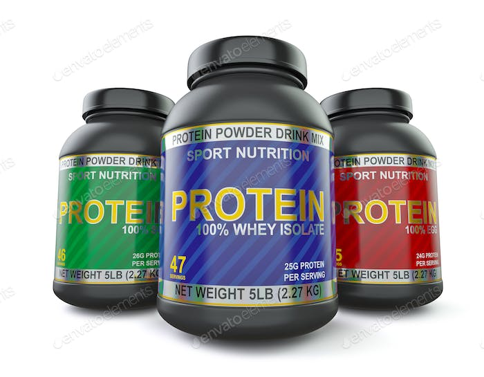 Bodybuilding protein supplements isolated on white