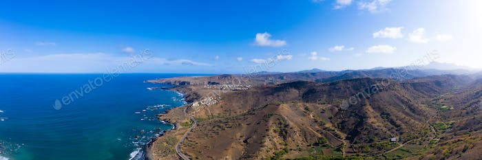 Aerial panoramic view wild coastline near Calhet  in Santiago -