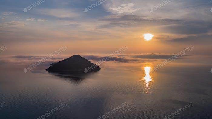 kinira island in sunrise, Greece