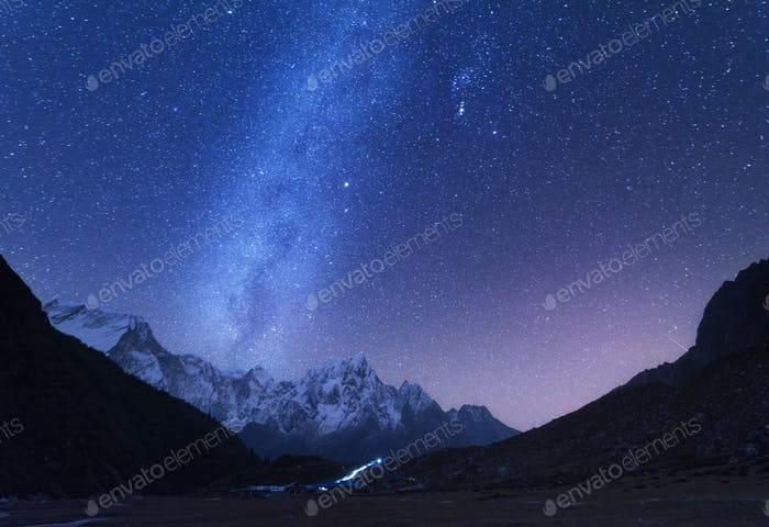 Milky Way and mountains. Night landscape