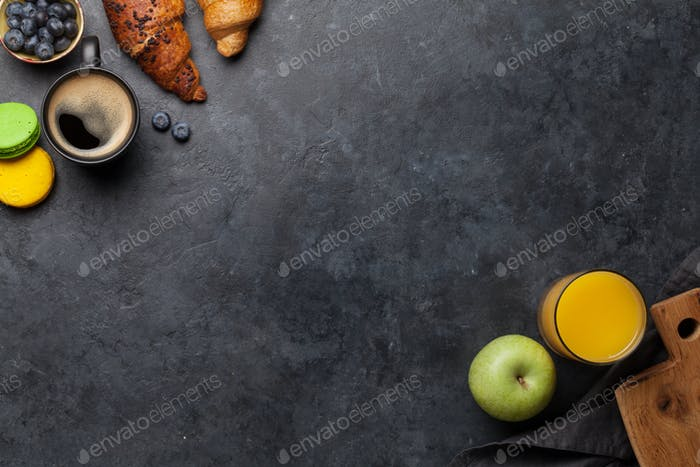 Thumbnail for Frühstück mit Kaffee und Croissants