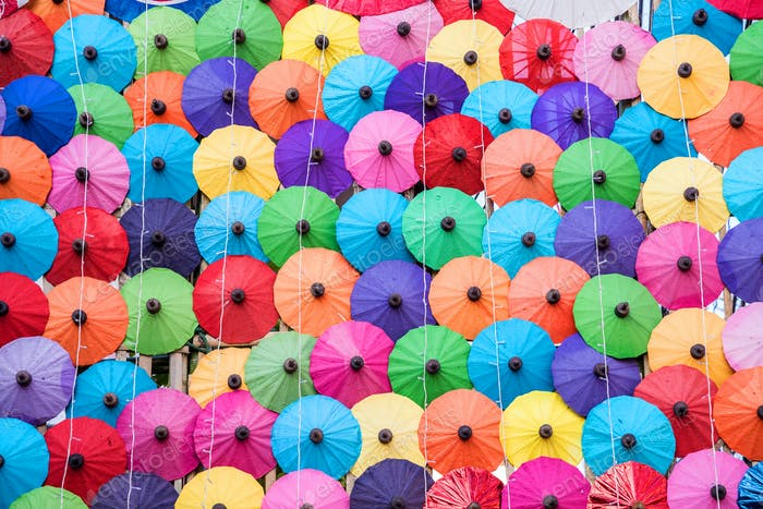 The colorful paper umbrellas handmade.